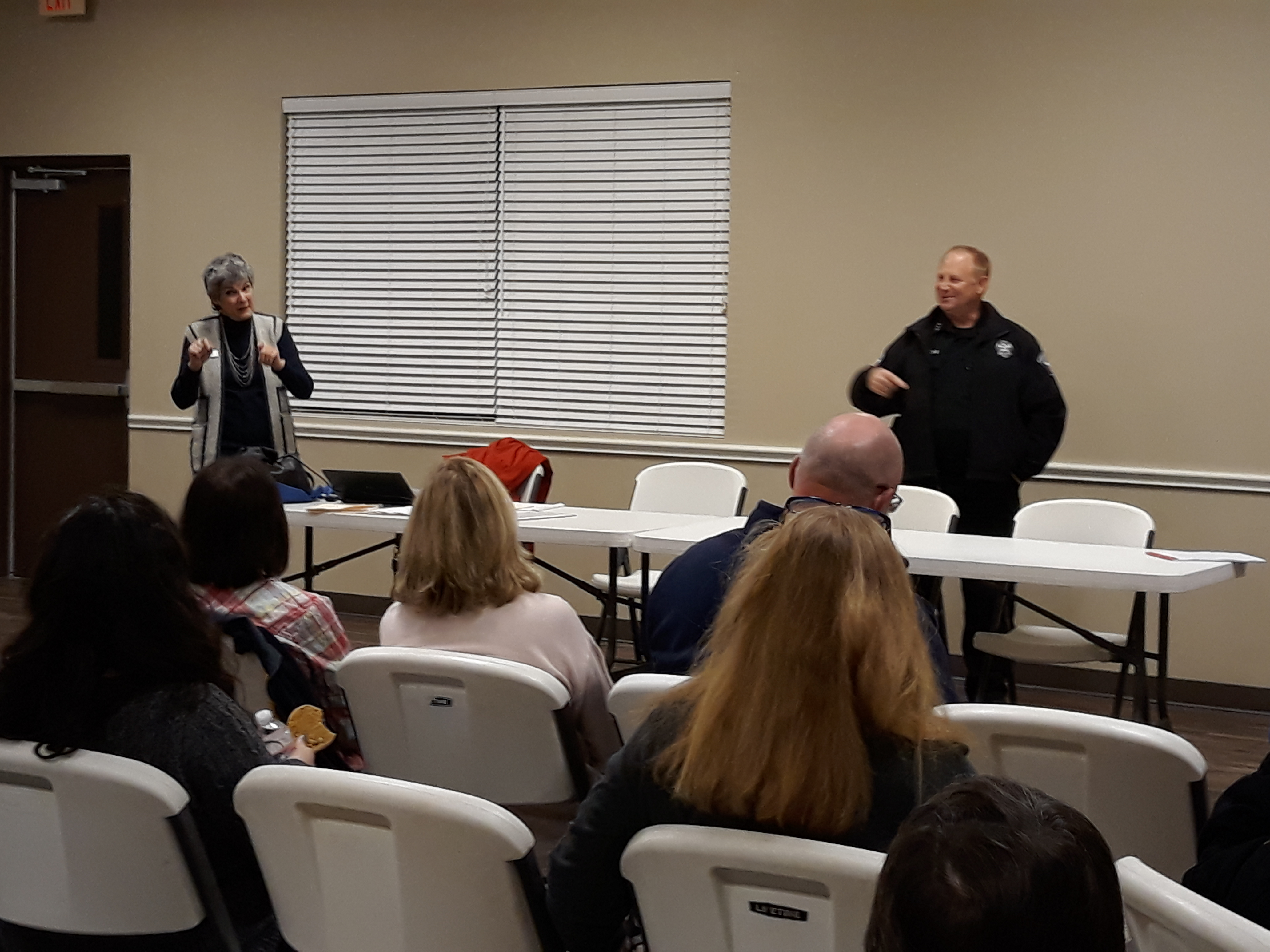 Commissioner Cook and Pct. 1 Constable Vinnie Cherrone discuss safety and other concerns in the Bluffs at Millwood neighborhood