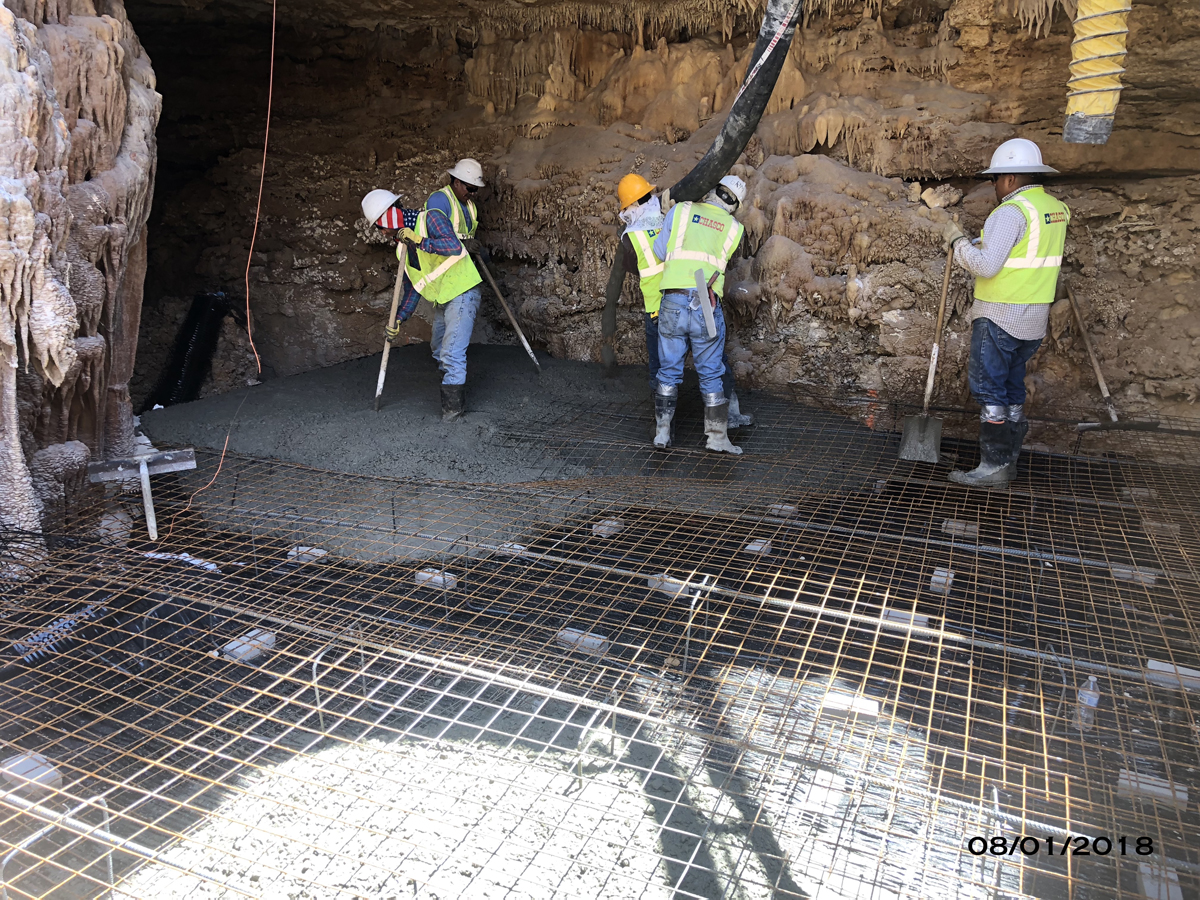 The crew is working on the first foundation to fill Cambria Cave.