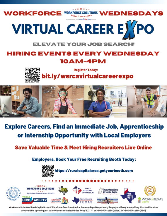 Flyer of Virtual Career Expo from Workforce Solutions.