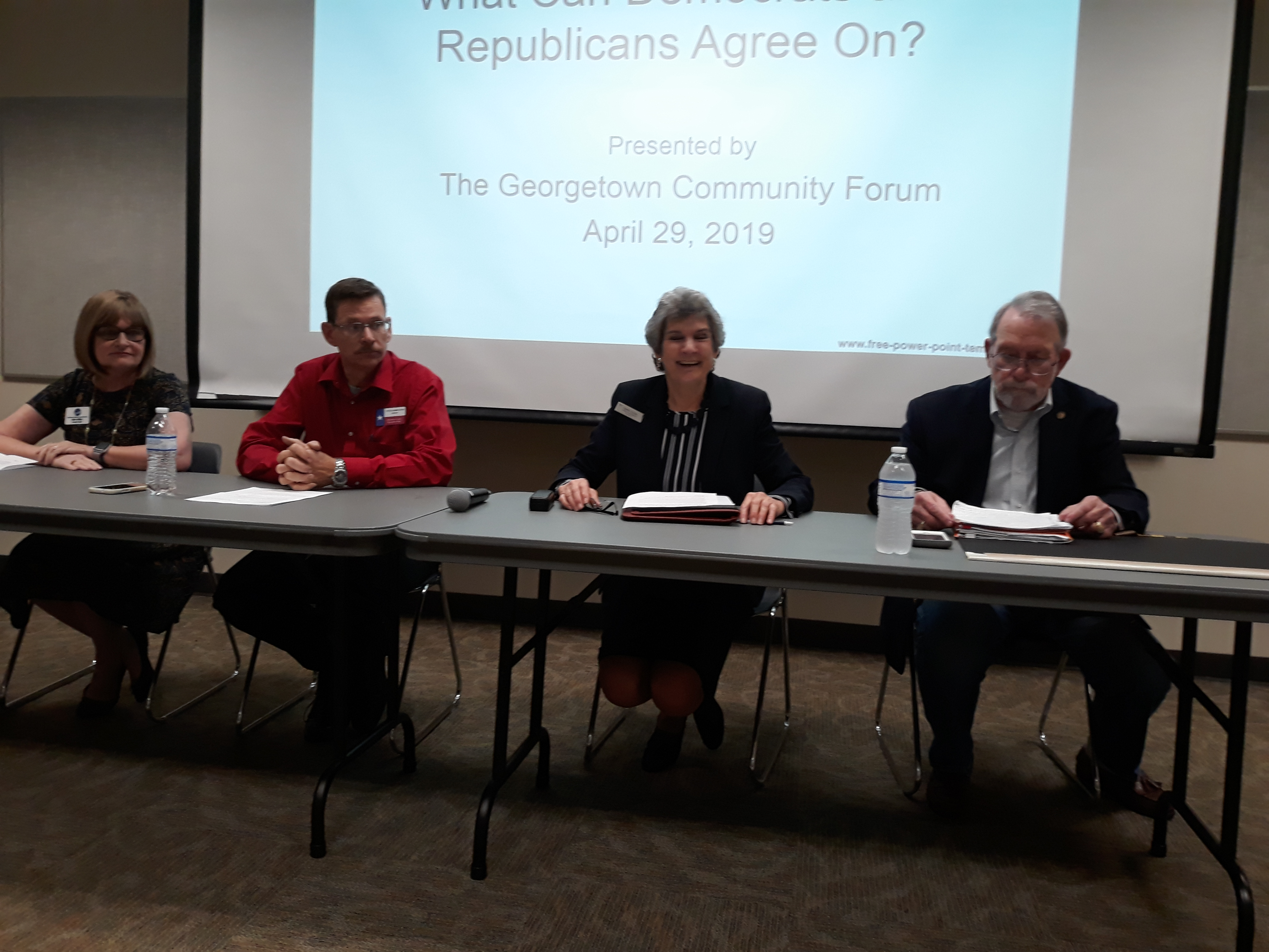 Panelists from left to right include Kim Gilby, Chair of the Williamson County Democratic Party; Steve Armbruster, Chair of the Republican Party; Commissioner Cook; and Frederick Bothwell, III a Republican from Georgetown.