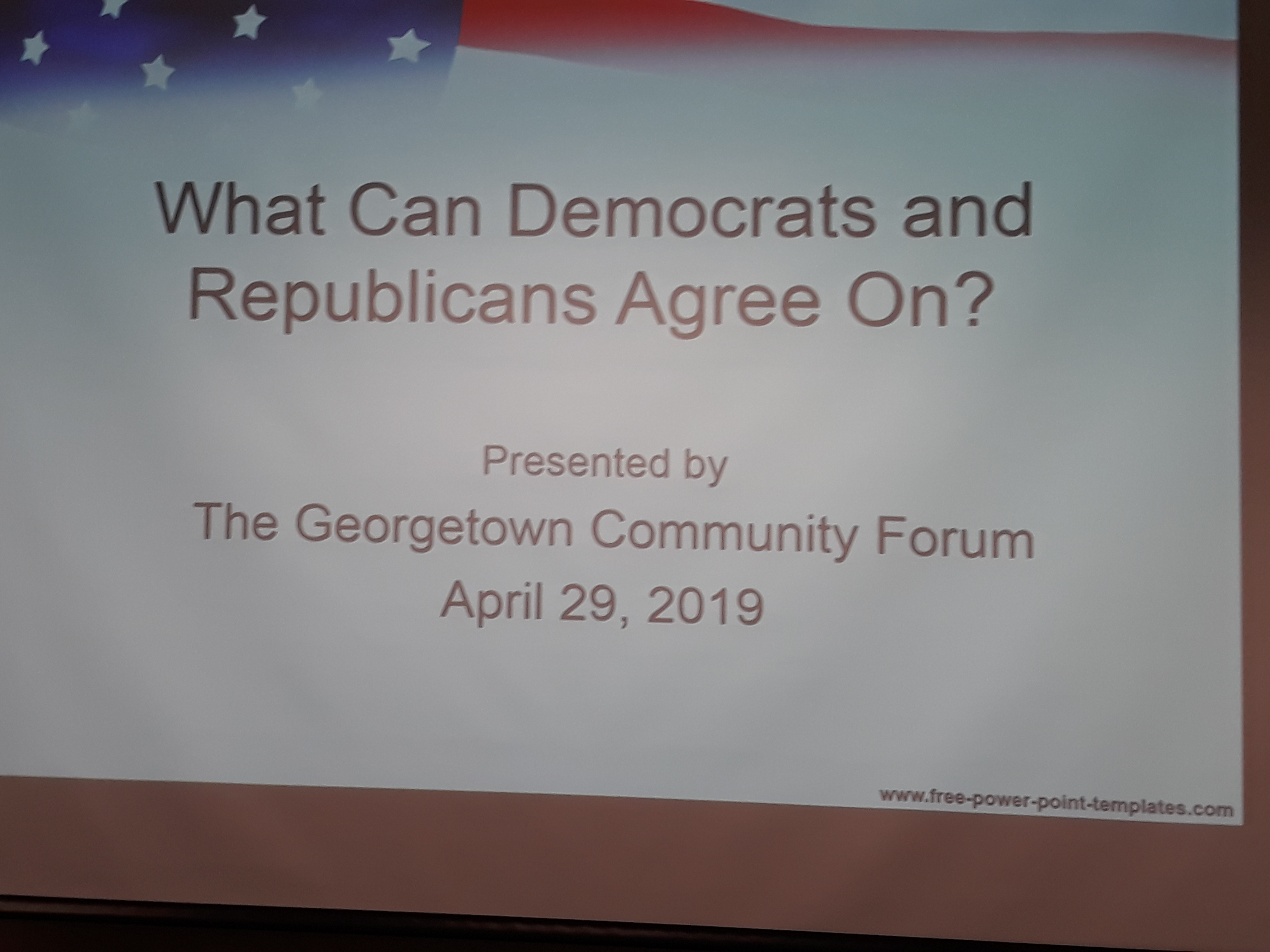 PowerPoint Slide on Screen reads: What Can Democrats and Republicans Agree On/