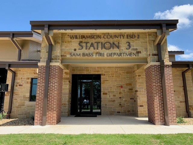 Front of the new Williamson County ESD 2 Station 3 Sam Bass Fire Department.