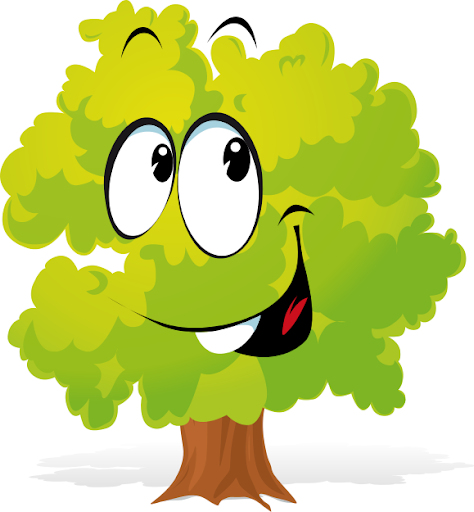Image of a tree with eyes and a smile from Plant Cliparts