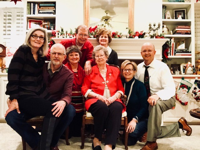 425th Judicial District Judge Betsy Lambeth gathers with her family at Christmas. Lf to Rt: sister-in-law Pam Figer; brother Donald Figer; sister Bonnie Harmon; brother Mike Figer; sister-in-law Cindy Figer; Mom Billie Figer; Judge Lambeth and her husband Brad Curlee.