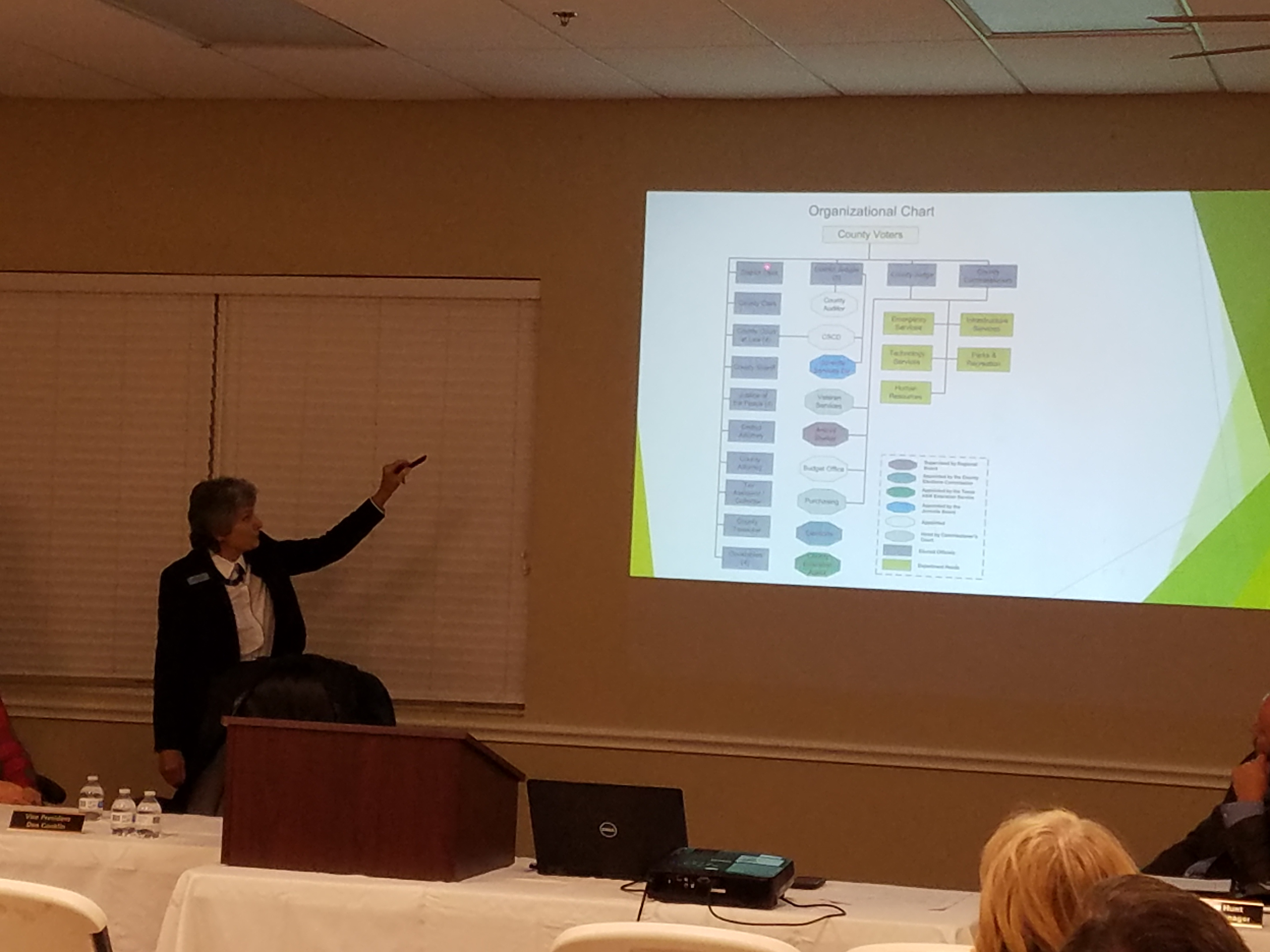 Commissioner Cook explains the county organizational chart projected on a screen.