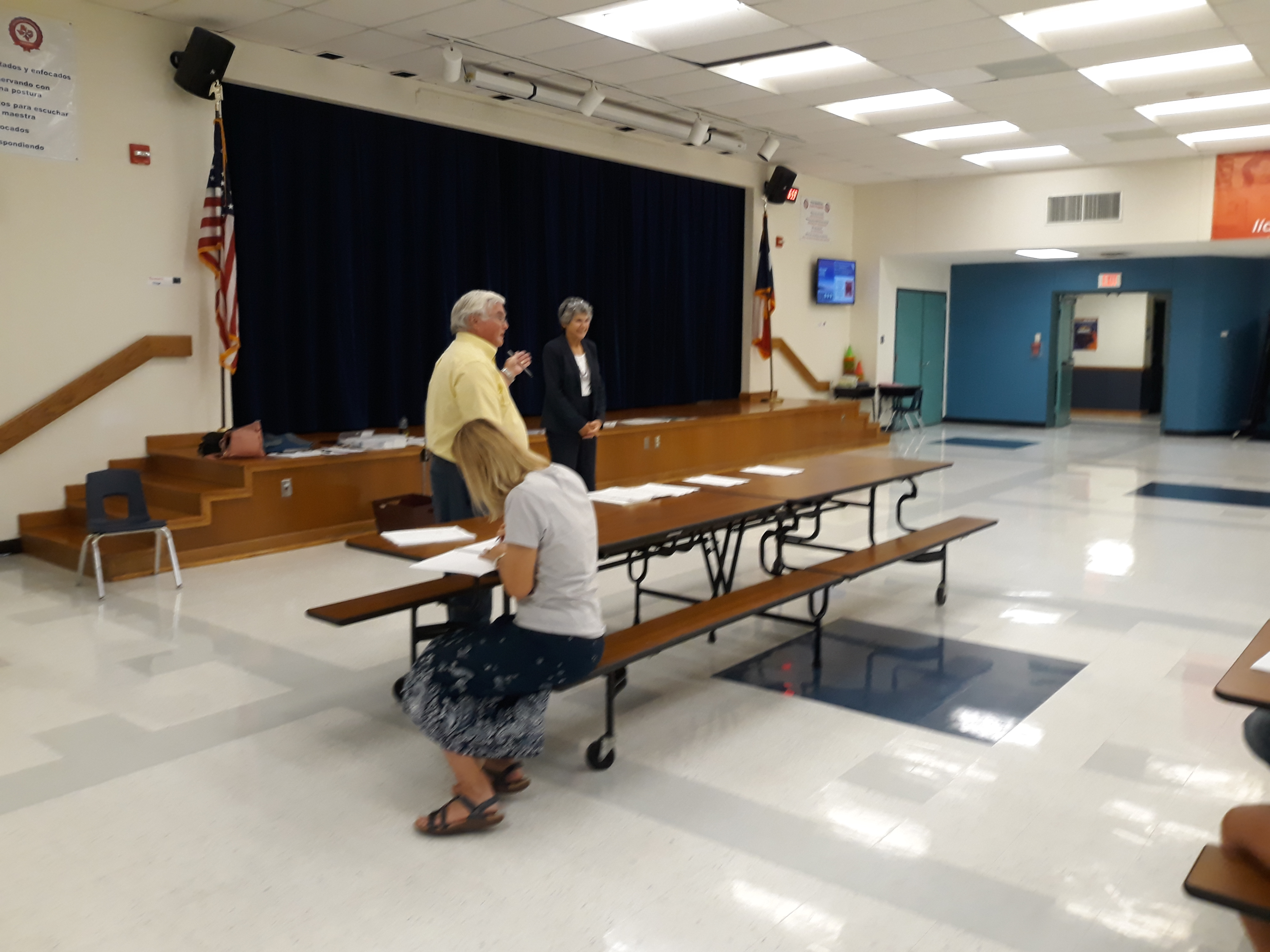 Plantation HOA Director (former VP) Bill King introduces Commissioner Cook who offered remarks on the 620 overpass constructioni, LCRA power lines by the railroad tracks, the Wilco Bond Election and the new voting machines.