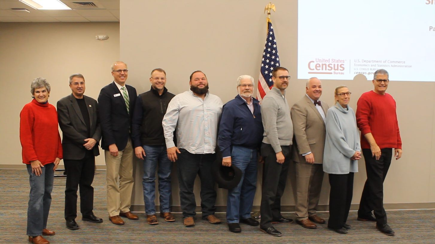 Atatending the Williamson County Complete Count Committee Kick-off on Feb. 5, 2020, were (from left) Commissioner Cook, Hutto Mayor Doug Gaul, Taylor Mayor Brandt Rydell, Cedar Park Mayor Corbin Van Arsdale, Bartlett Mayor Landry Pack, Jarrell Mayor Larry Bush, Granger Mayor Trevor Cheatheam, Round Rock City Council Member Will Peckham, Florence Mayor Mary Condon, and County Judge Bill Gravell.
