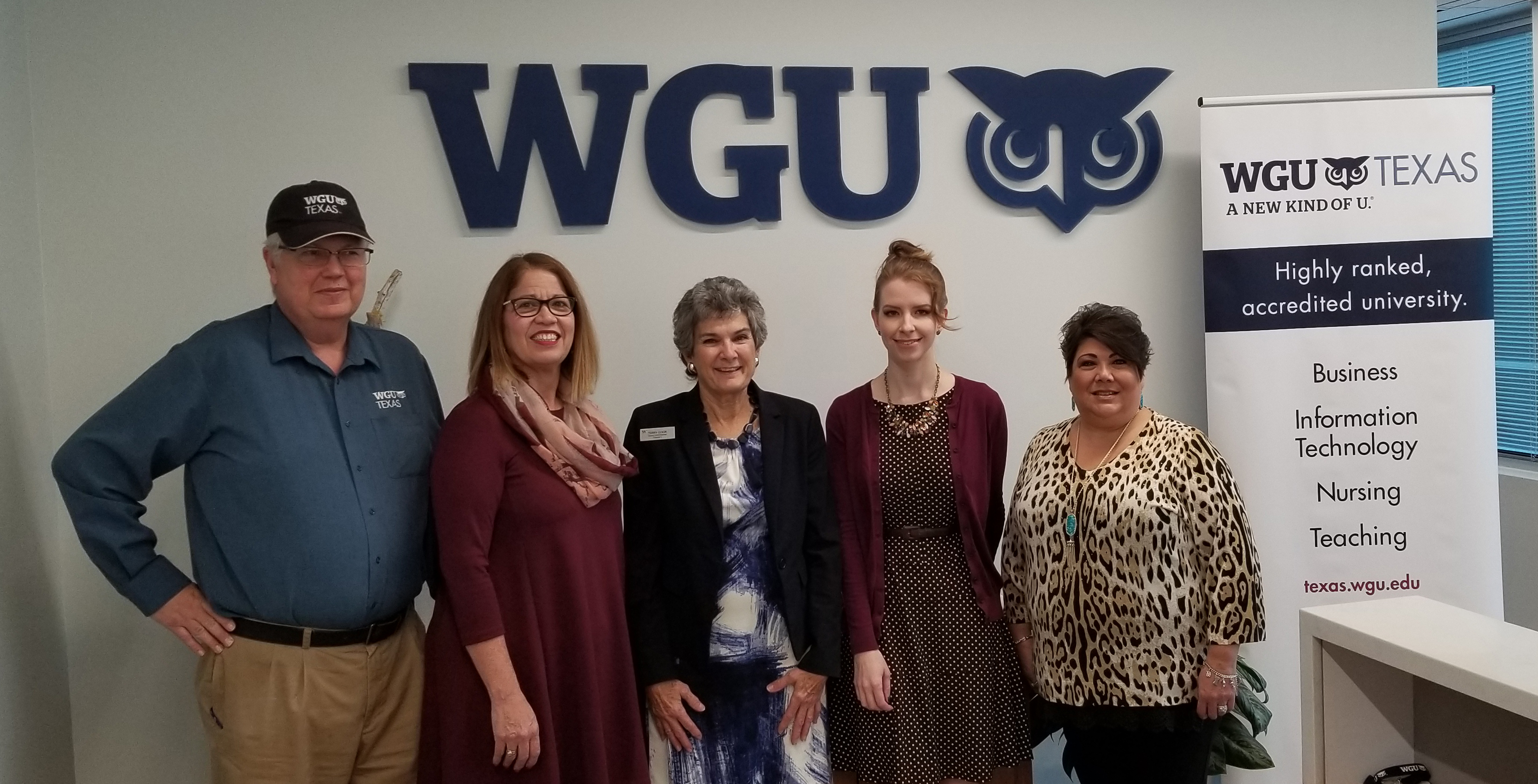 Pictured left to right are Jim Johnson, WGU Community Relations Manager; Nancy Fitzgerald; WGU Texas Office Manager; Commissioner Cook; Emily LaBrecque, WGU Enrollment Counselor, Business College; and Ann Cruz, Enrollment Counselor, Business College.