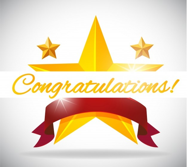 An icon of  a gold star intersected with a ribbon and with the word Congratulations through the image. (freepick.com)