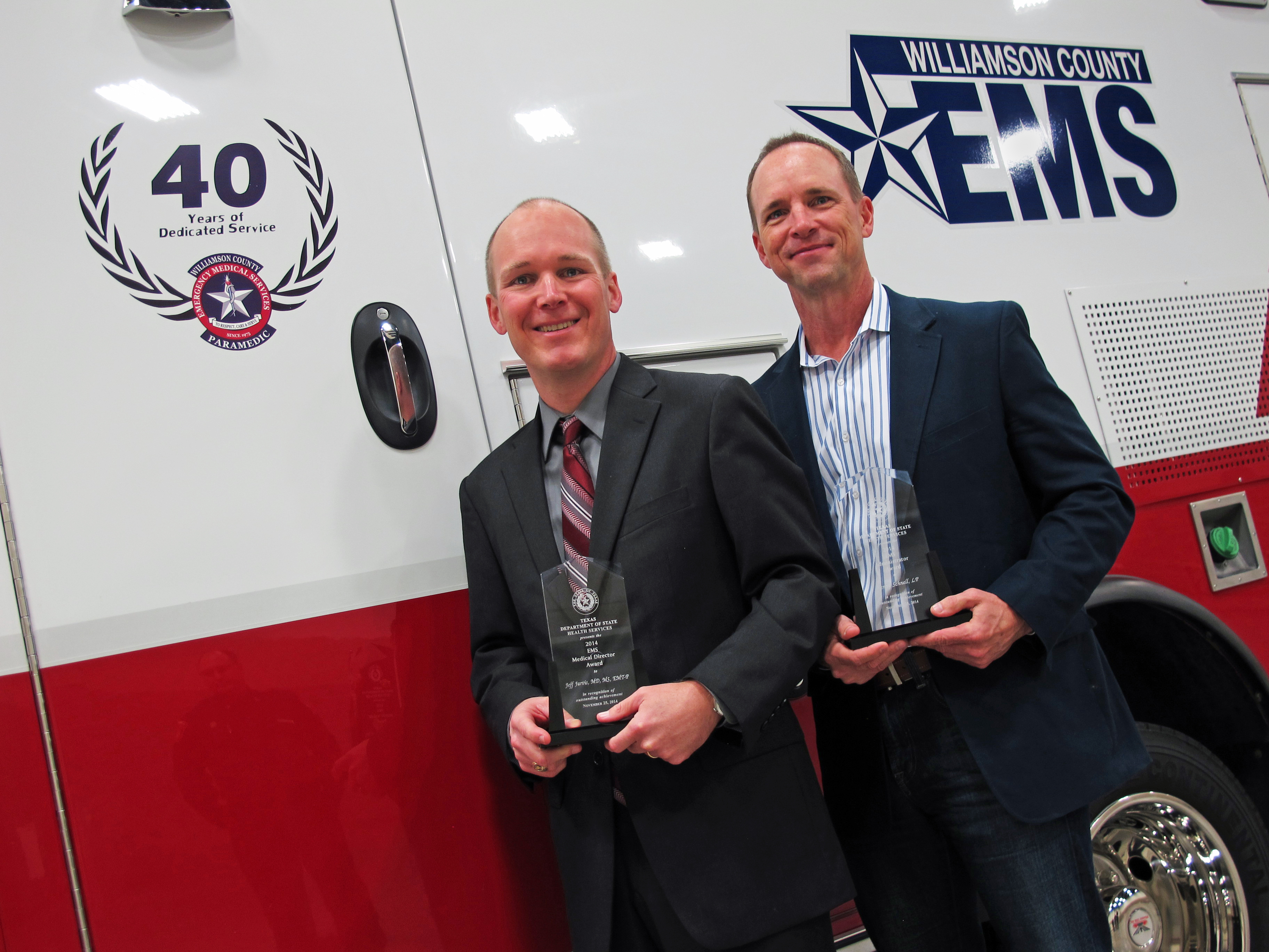 Dr. Jeff Jarvis and Kenny Schnell win awards.