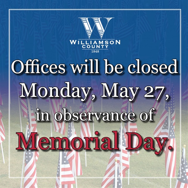 County Offices Closed for Memorial Day