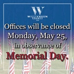 Williamson County Offices Closed for Memorial Day