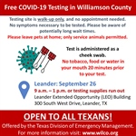 Williamson County to Host Free COVID-19 Testing in Leander