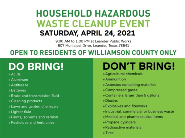Household Hazardous Waste Cleanup Event April 24 in Leander