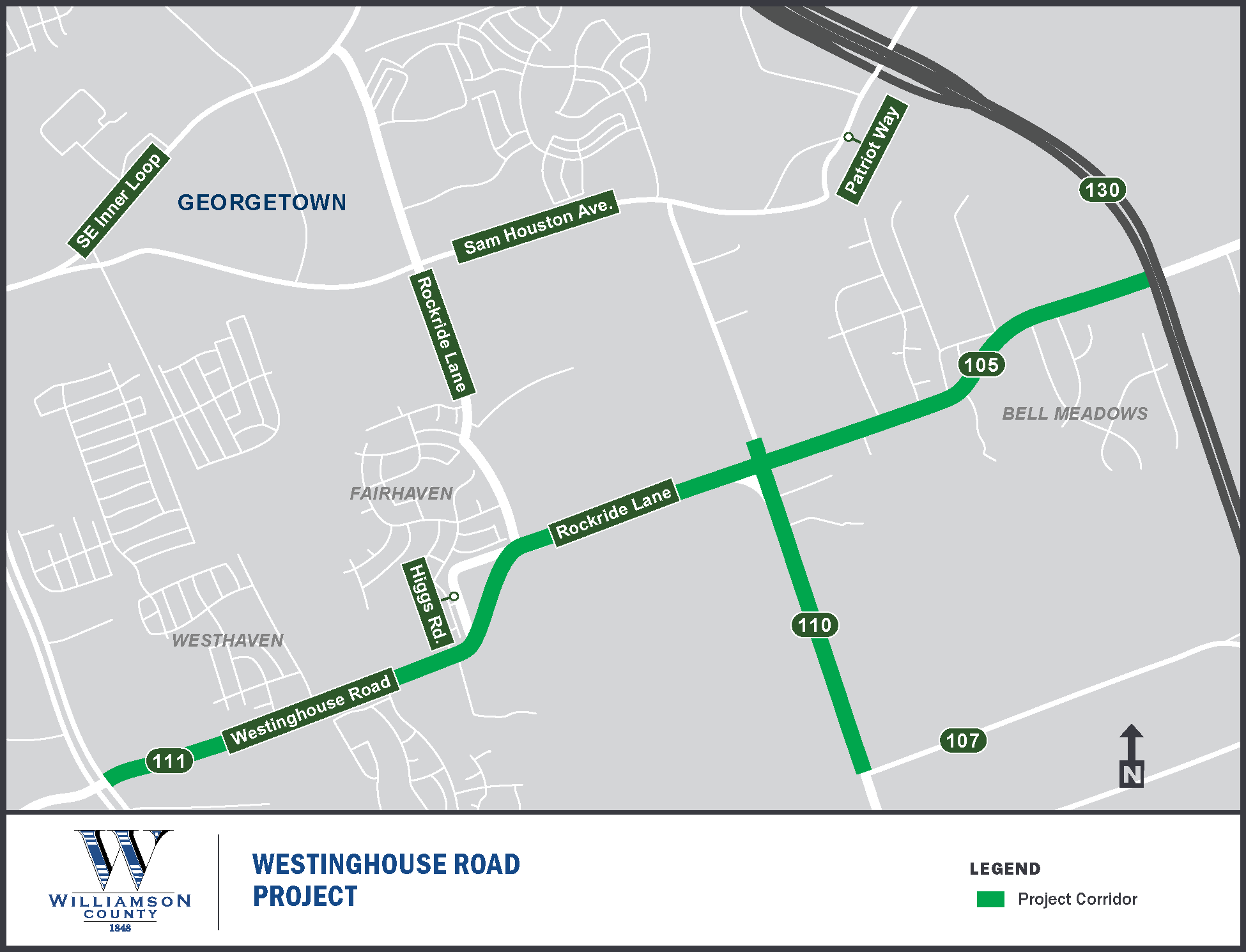 Project Map for Westinghouse Road
