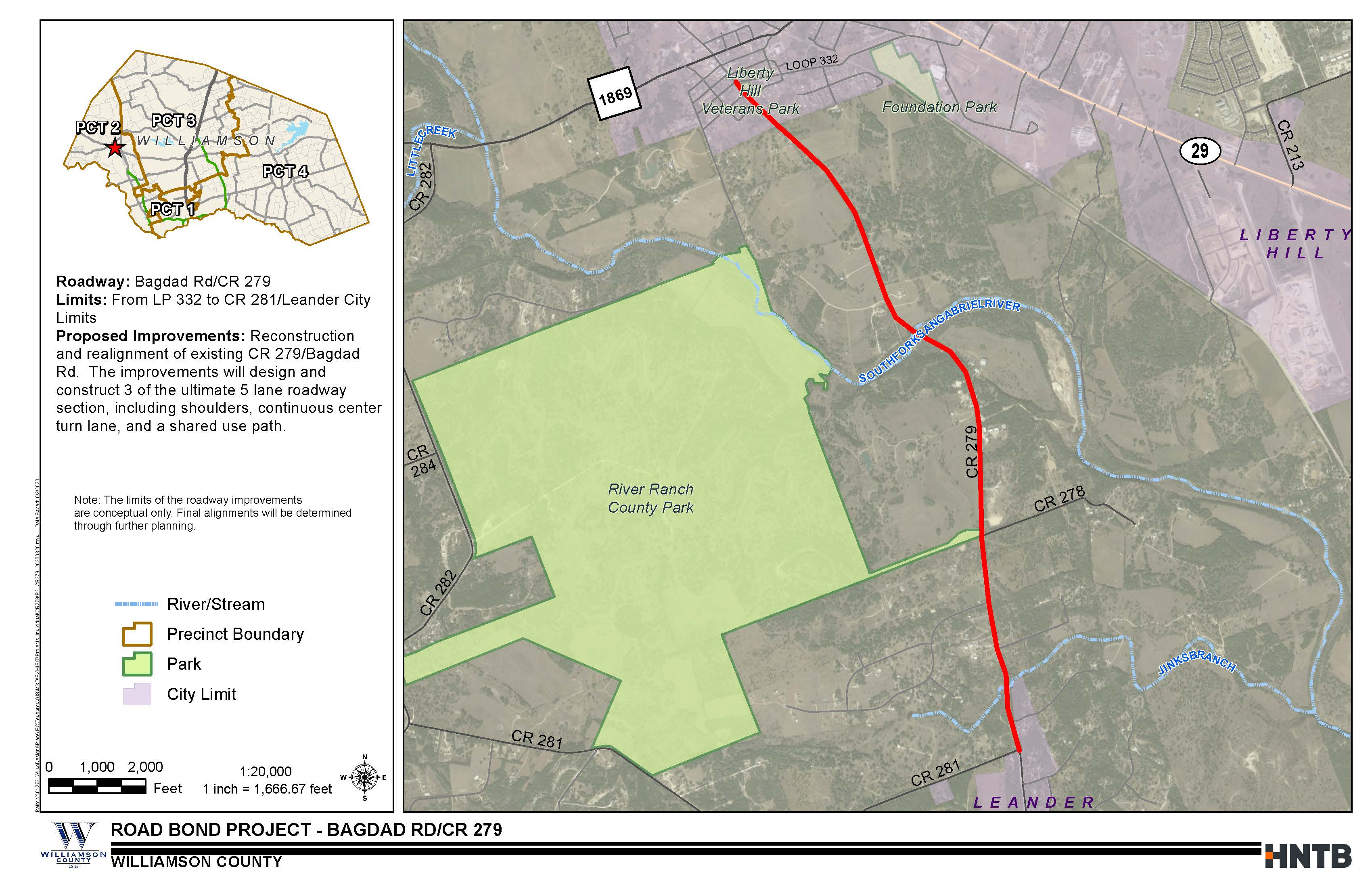 Project Map for CR279/Bagdad Road (Loop 332 to CR 281/Leander City Limits)