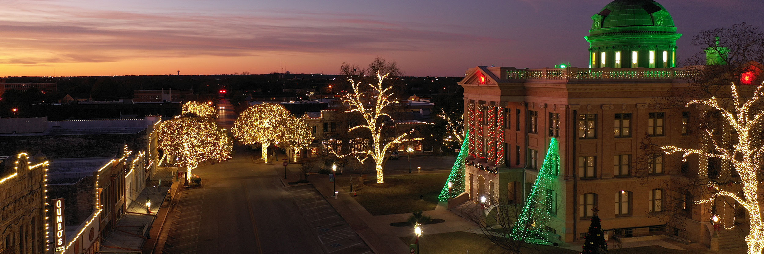 The Historic Courthouse on the Square in Georgetown Lit Up For The Holidays