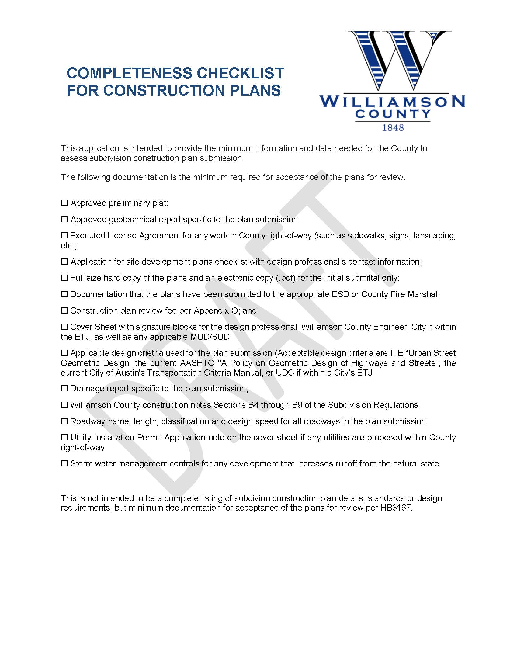Application for Construction Plan Submission